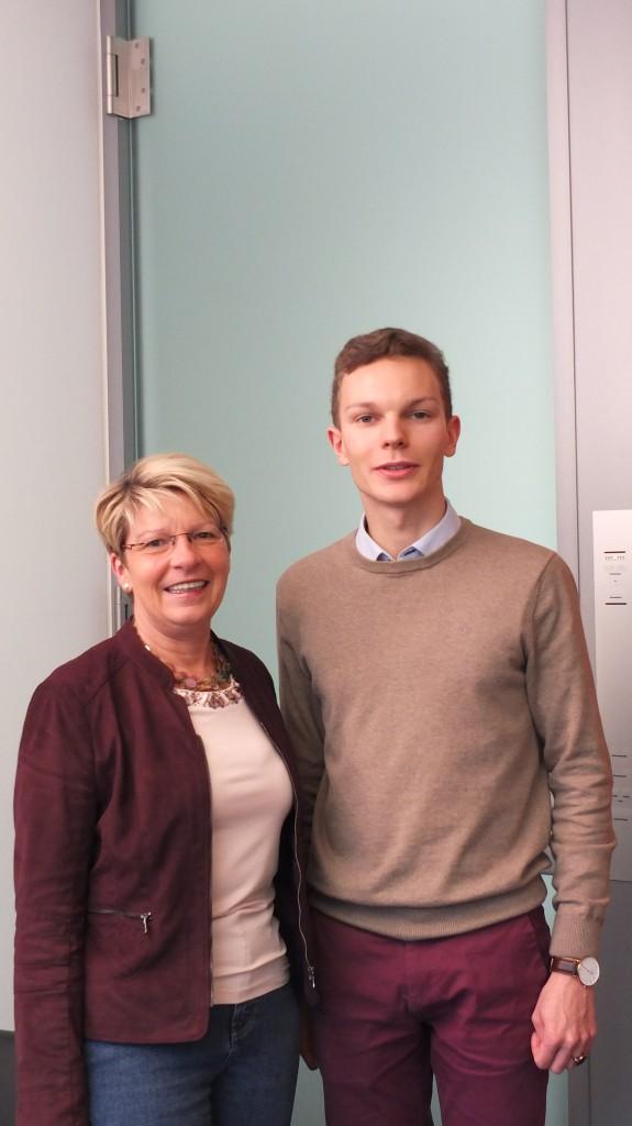 Gabriele Katzmarek mit Juso Michael Börner aus Karlsruhe, der 2015 ein Praktikum in Berlin machte