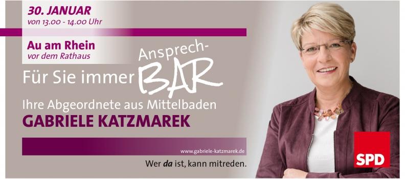 Gabriele Katzmarek lädt ein zur AnsprechBAR in Au am Rhein, Elchesheim-Illingen und Steinmauern
